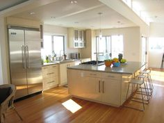Modern Kitchens from Lori Dennis on HGTV - really like these colors together and think it will work well with the floors too.