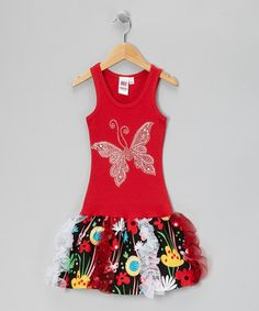 Take a look at this Red & Black Butterfly Garden Ruffle Dress - Toddler & Girls by Bubblegum Diva on #zulily today!