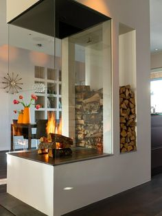 Glass + Fireplace...wow!