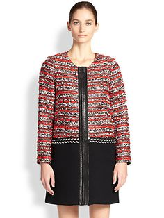 MILLY - Leather-Trimmed Bouclé and Woven Coat - Saks.com