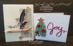 RubberFUNatics: Card Kit of the Month - Four Feathers. Four Feathers stamp set used to make a Christmas tree. I like it.
