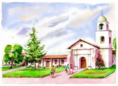Mission Santa Cruz (Santa Cruz, CA), pinned from californiamissionprints.com