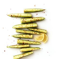 Healthy Snack: Cucumber spears tossed with Aleppo pepper, Maldon sea salt, and lemon juice.  (+ other healthy office snack ideas)