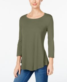 Jm Collection Petite Three-Quarter-Sleeve Top, Only at Macy's - Green P/XS