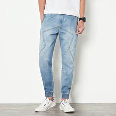 22.60$  Buy here - http://alie2c.shopchina.info/go.php?t=32809585227 - 2017 Men's Summer Jeans Cotton Breathable Light Blue Harem Pants Slim Fit Ankle Length Denim Pants Big Size Street Trousers 22.60$ #magazineonline