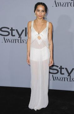 Zoe Kravitz en slip dress Calvin Klein Collection à la soirée des InStyle Awards 2015