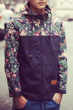 Color Block 3D Floral Spliced PU Leather Applique Hooded Long Sleeves Coat For Men