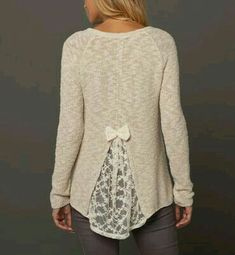 Upgrade a tight sweater with a lace insert and a bow. Easy and cute!