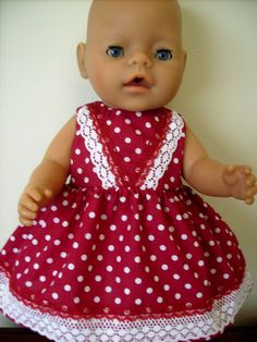 17 Fits Baby Born. Deep Red & White Spot Dress, White Bow & White Lace.
