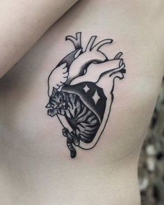 100 Medium Tattoos Surrealist anatomical cat heart tattoo on the left side ribcage. Kitten Tattoo, Cute Cat Tattoo, Dream Tattoos, Body Art Tattoos, Cool Tattoos, Pinterest Tattoo Ideas, Heart Tattoo Images, Matching Bff Tattoos, Medium Size Tattoos