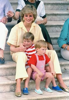 Princess Diana with her boys; Harry and William