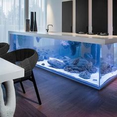 Ilha de cozinha equipada com um aquário