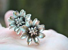 CORO DESISGER CLIPS Vintage Coro Earrings Designer  Brushed Silver Open Blooming Petal Flower Screw Back Earring by StudioVintage on Etsy