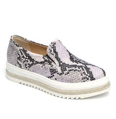 Slip-on sneaker style loafer from Laura Bellariva. A round toe, black rubber gussets inserts. Stitch reinforced white rubber sole with woven espadrille detail. Leather embossed to emulate snake skin throughout. Purple mixed with black. Leather lining. Item code: 80006 Materials: leather, rubber Made in Italy