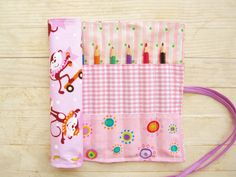 Roll up pencil case crochet hook case paintbrush make-up brush case artist roll circus monkey stars checks light pink orange lilac kids gift by…