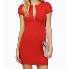 Red Aria Bodycon Dress Super classy and sexy Bodycon, would be perfect for valentines day! Back clasp is missing but dress is tight enough to stay zipped without it. Tobi Dresses Mini