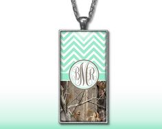 Mint Chevron Camo Monogram Pendant Charm Necklace Personalized Country Girl Custom Initial Necklace Monogram Jewelry