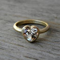 Heart of Gold : White topaz and 14K yellow gold, Size 7. $488