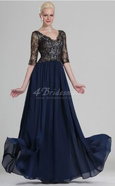 A-line With Sleeves Long Ink Blue Lace Evening Dresses(BD535)