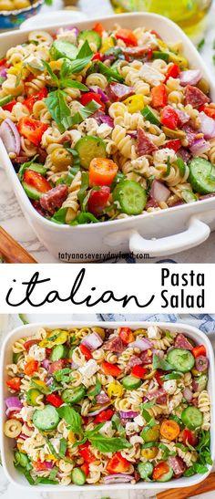 Ultimate Italian Pasta Salad (video) - Tatyanas Everyday Food Italian Salad Recipes, Best Pasta Recipes, Pasta Salad Italian, Best Dinner Recipes, Easy Salad Recipes, Side Dish Recipes, Beef Recipes, Cooking Recipes, Amazing Recipes