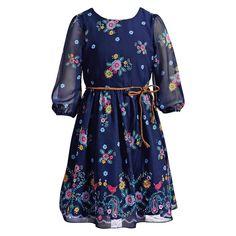 Girls 7-16 & Plus Size Emily West Floral Chiffon Dress with Braided Belt, Size: 16 1/2, Blue (Navy)