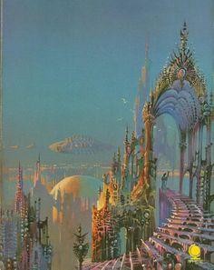 "Bruce Pennington - illustration for A.Van Vogt' ""The World of Null A"" Fantasy Artwork, Arte Inspo, 70s Sci Fi Art, Science Fiction Art, Visionary Art, Fantasy Landscape, Retro Futurism, Psychedelic Art, Surreal Art"