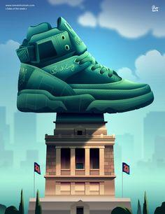 sneaker-illustration-by-romain-trystram-soles-of-the-week-5 Cute Sneaker Outfits, Sneakers Fashion Outfits, Mens Boots Fashion, Cute Sneakers, New Sneakers, Nike Fashion, Sneakers Wallpaper, Nike Wallpaper, Screen Wallpaper