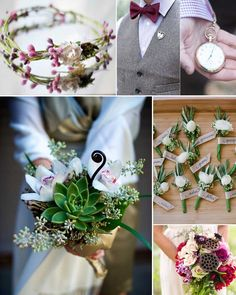 Forest wedding flowers and bouquets >> http://www.yesbabydaily.com/blog/a-woodlands-wedding