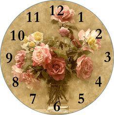 Vintage roses clock