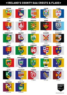 Ireland's County GAA Crests & Flags. www.paintedclans.com