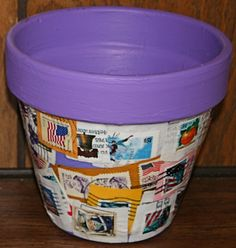 How to Craft Projects | This pot, submitted by Erica St. John, was made using old postage ...