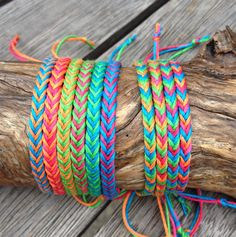 Handmade Neon Bamboo Cord Friendship Bracelet or Anklet - Fishtail Pattern by PurpleowlProducts on Etsy