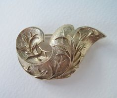 Vintage 60s Hollywood Regency Art Nouveau Signed Sarah Coventry Golden Brocade Paisley Scroll Leaf Vine Brooch Pin by ThePaisleyUnicorn, $10.00