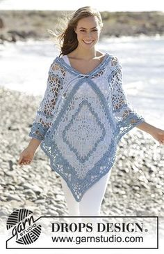 Tide poncho with lace pattern and stripes by DROPS Design Free Crochet Pattern
