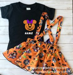 Minnie Mouse HALLOWEEN outfit orange criss cross suspenders circle SKIRT ONLY, with a matching hairbow, Baby infant toddler Cute Halloween Outfits, Halloween Costumes, Disney Outfits, Kids Outfits, Minnie Mouse Halloween, Pumpkin Outfit, Suspender Skirt, Couture Collection, Cute Shirts