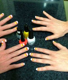 Mommy/Daughter candy corn nails!