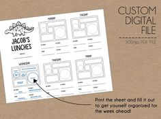 Printable Custom Little Foodies Planner (for PlanetBox) for by underthelighttable