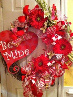 Valentines Day Heart Shaped wreath - red roses - front door decor