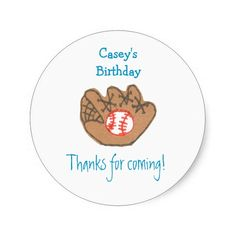 Baseball birthday favor label round stickers