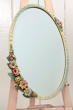 Vintage Home - Flowers and Ribbons Oval Barbola Mirror.