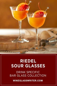 Designed with an outward flared lip to highlight the flavor of Sour cocktails, Riedel Drink Specific Sour glasses deliver the liquid to the tip of the tongue and the entire palate for a burst of flavor. #drinkspecific #riedel #sour #whiskysour #whiskeysour #sourglasses #glasses #crystal #holidaygift Sour Cocktail, Whiskey Sour, Daiquiri, Classic Cocktails, Hand Designs, Glass Collection, Entertaining, Drinks, Tableware