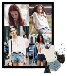 """""""R: Ruby Aldridge"""" by suzyloves17 ❤ liked on Polyvore featuring M.i.h Jeans, Radley, Levi's, Frye, Poleci, vintage inspired, graphic tees, high-waisted denim shorts, black and white and high-waisted shorts"""