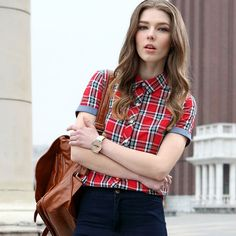 Image result for women's Short Sleeve Button Down Shirt  plaid
