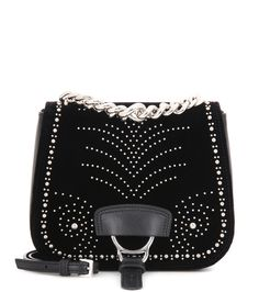 Miu Miu - Dahlia black embellished velvet and leather shoulder bag - Miu Miu's…