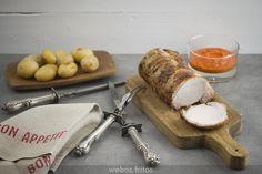 Lomo de cerdo asado con salsa de pimientos de Piquillo