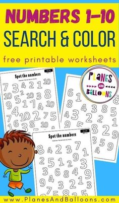 Free printable numbers 1 to 10 worksheets for preschool - numbers 1-10 worksheets. #prek #preschool #planesandballoons Learning Numbers Preschool, Teaching Numbers, Kindergarten Math Activities, Fun Learning, Number Activities, Early Learning, Free Printable Numbers, Printable Preschool Worksheets, Free Printables