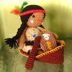 Amigurumi Native American Doll.