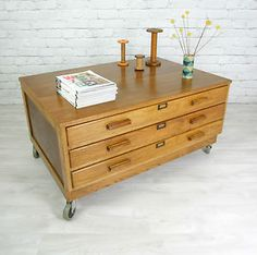 VINTAGE INDUSTRIAL OAK ARCHITECT PLAN CHEST MAP CHEST DRAWERS TABLE 50s 60s | eBay