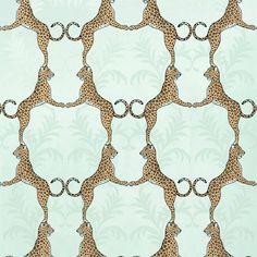 Regal Cheetah Wallpaper in Aqua