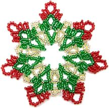 Pretty Lace Ornament by Sandra D. Beaded Christmas Decorations, Snowflake Ornaments, Beaded Ornaments, Ornament Crafts, Christmas Tree Ornaments, Diy Ornaments, Christmas Jewelry, Handmade Christmas, Diy Christmas